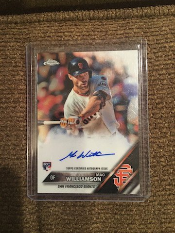 Mac Williamson 2016 Topps Chrome Auto RC San Francisco