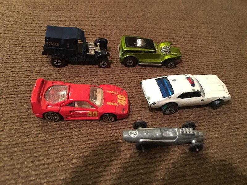 Lot of 5 Hot wheels and Tootsie toy Cars with 3