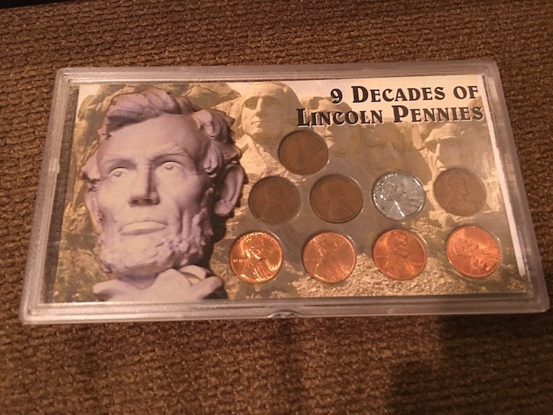9 Decades of Lincoln Pennies Set
