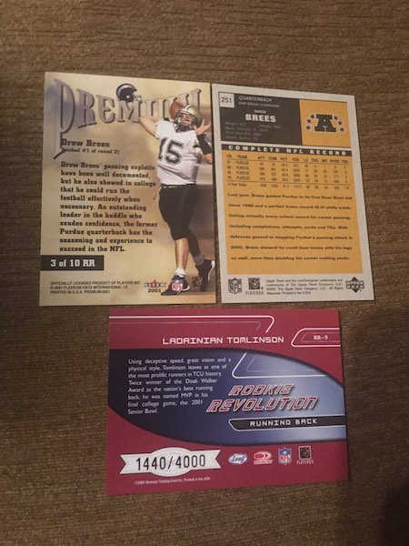 Drew Brees and Ladainan Tomlinson RC Lot: Fleer Rookie - 2