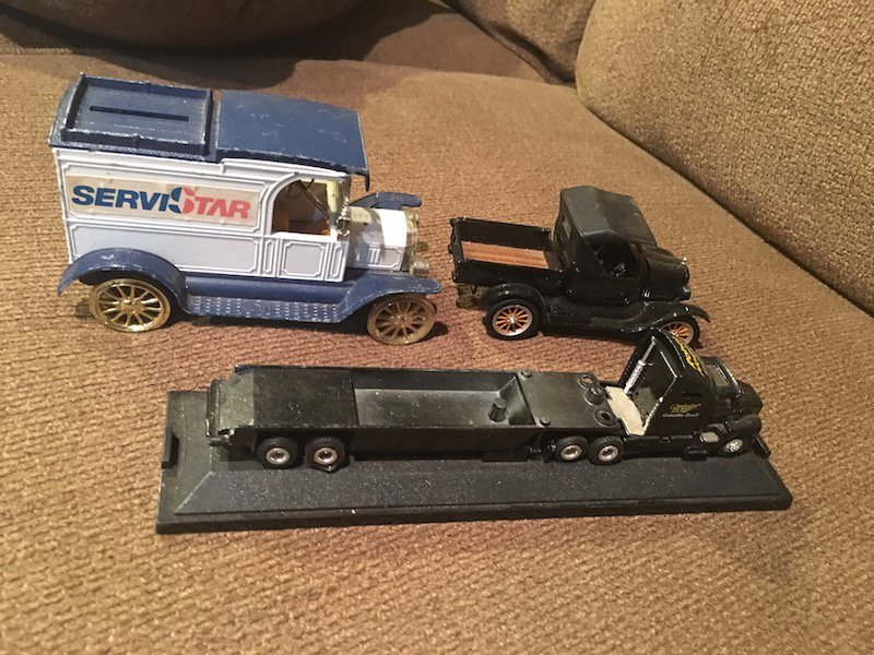 Lot of 3 Diecast Truck Banks and other Cars