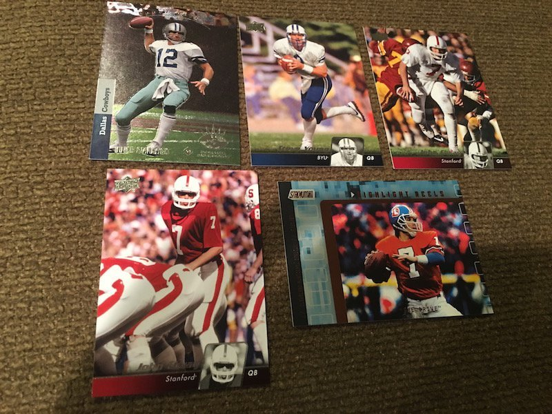 John Elway Steve Young Roger Staubach Football card lot