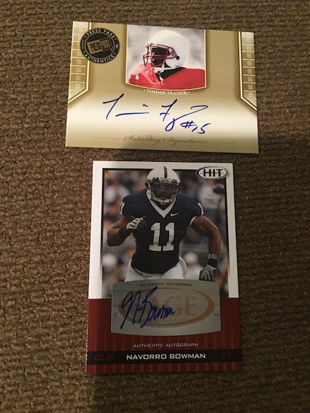 Tommie Frazier Navorro Bowman Presspass and Hit RC Auto