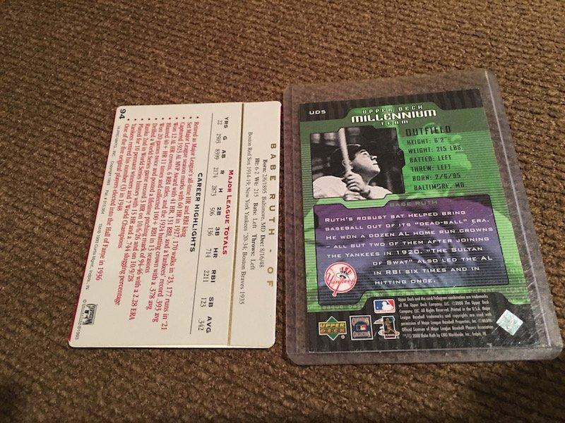 Babe Ruth 2 Card Lot Upper Deck Millennium - 2