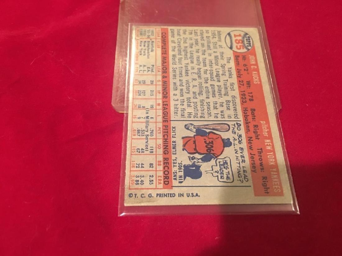 1957 TOPPS #185 JOHNNY KUCKS NEW YORK YANKEES NRMT - 3