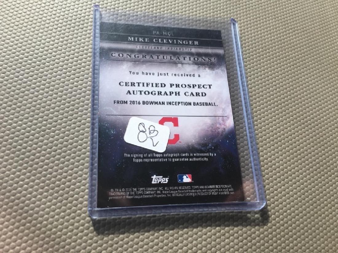 2016 Bowman Inception Mike Clevinger AUTO card #PL - 2
