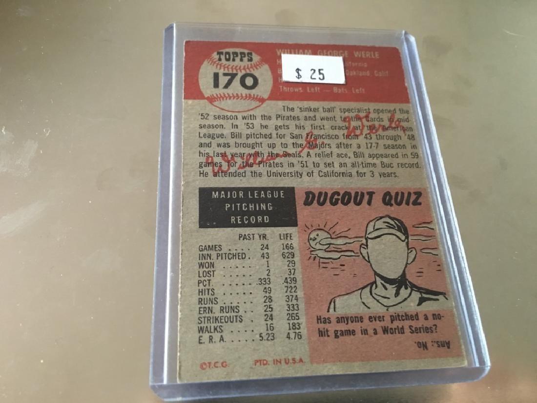 1953 Topps #170 Bill Werle - 2