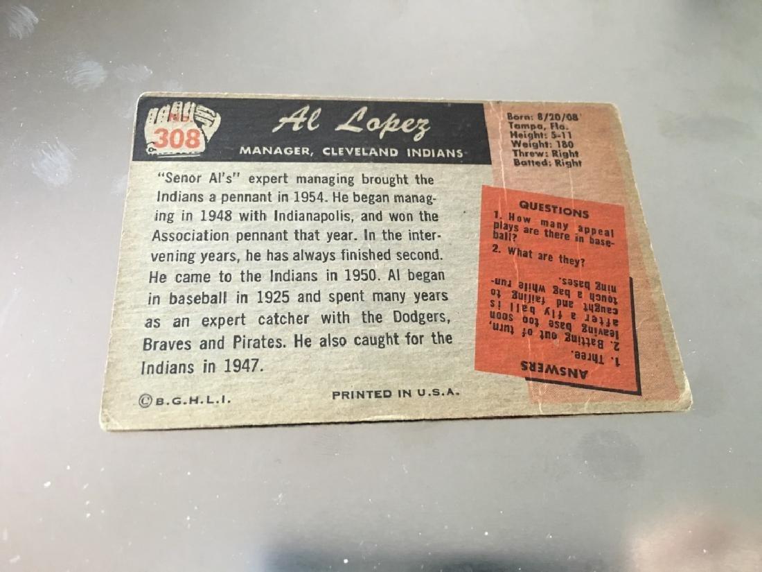1955 Bowman Baseball Card #308 Al Lopez - 2