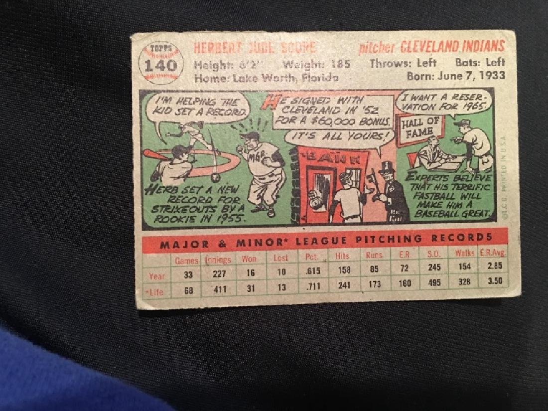 1956 Topps #140 Herb Score  RC Rookie Indians - 3