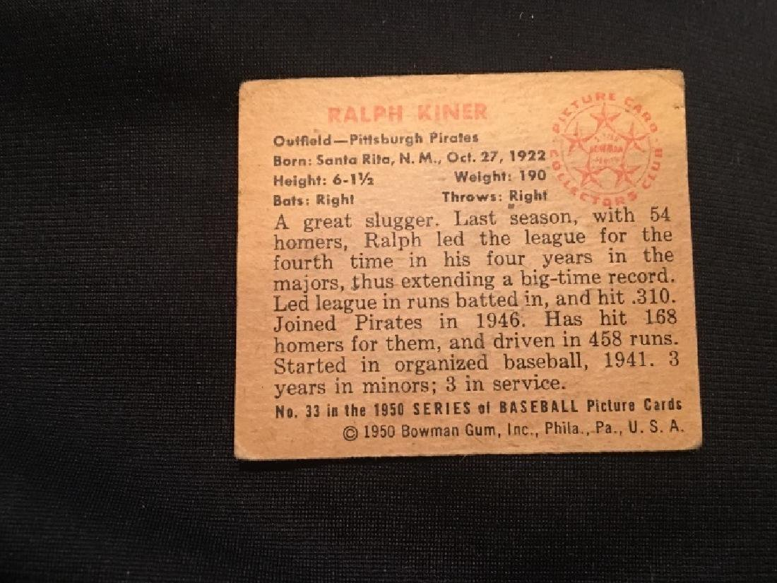 1950 BOWMAN RALPH KINER #33 (100.00) EX+- - 3