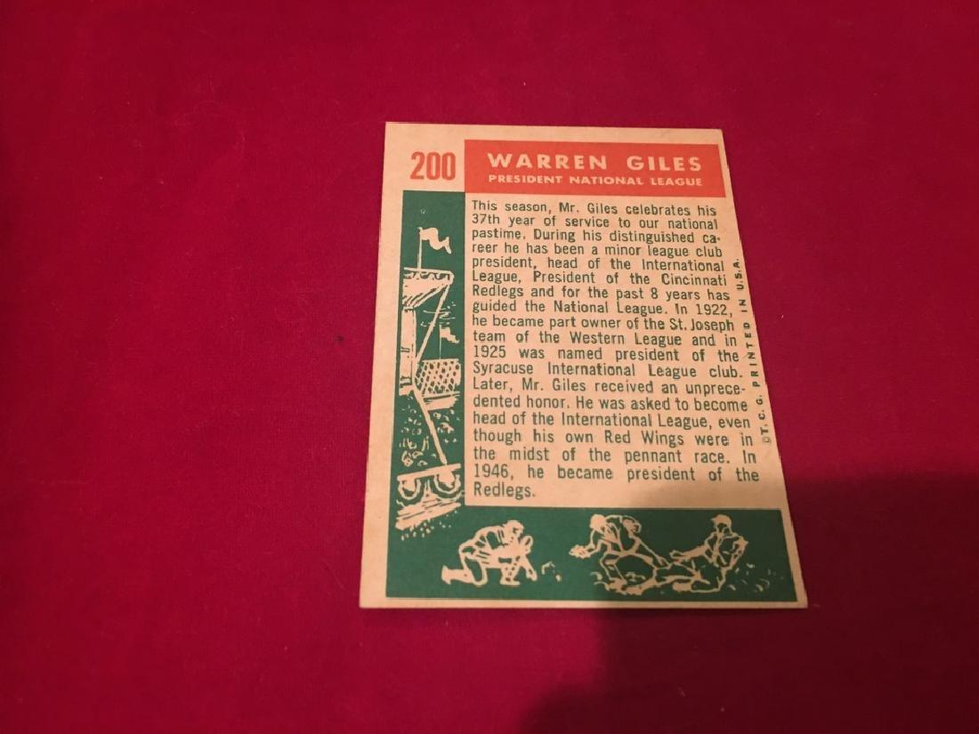 1959 Topps #200 Warren Giles NL President - 2