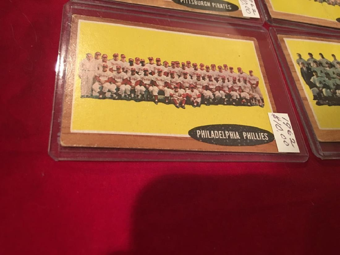 1962 Topps Team Card Lot  of 4 Cards - 5