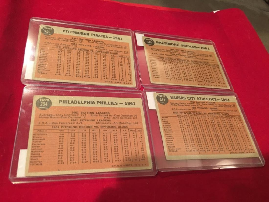 1962 Topps Team Card Lot  of 4 Cards - 6