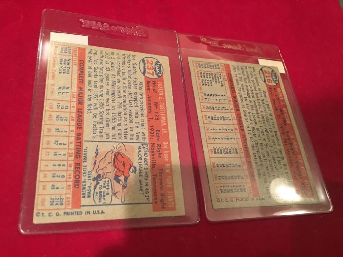 1957 Topps #216 MARV GRISSOM and Foster Castleman - 2
