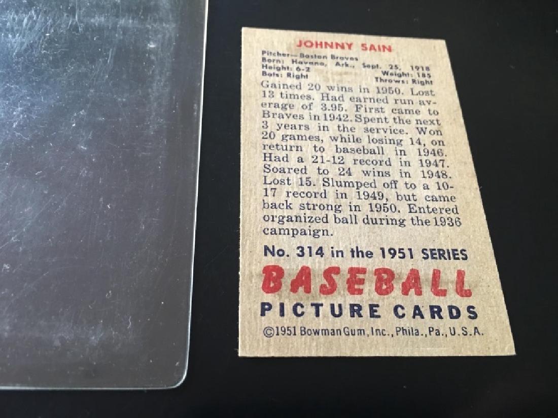 1951 Bowman Set Break #314 Johnny Sain EX/MINT - 3