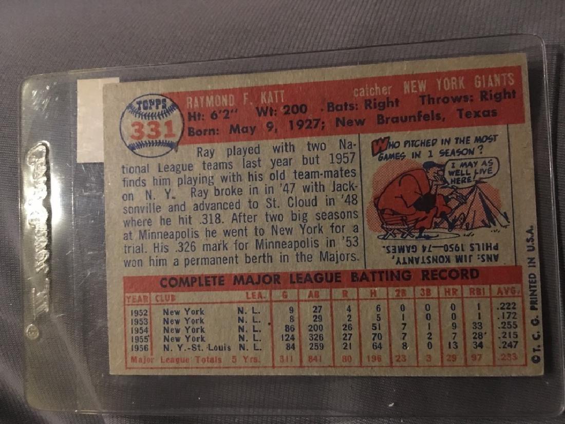 1957 Topps Set Break #331 Ray Katt NR-MINT - 2