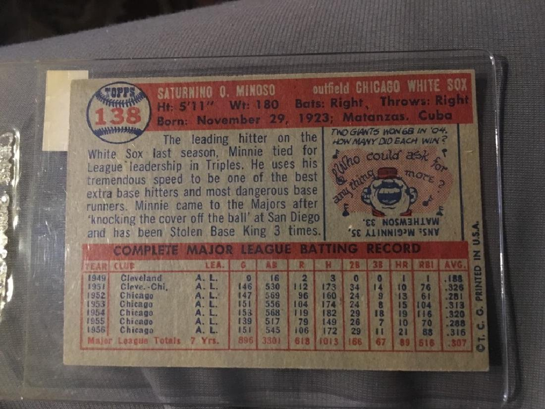 1957 Topps Baseball #138 Minnie Minoso (White Sox) - 2