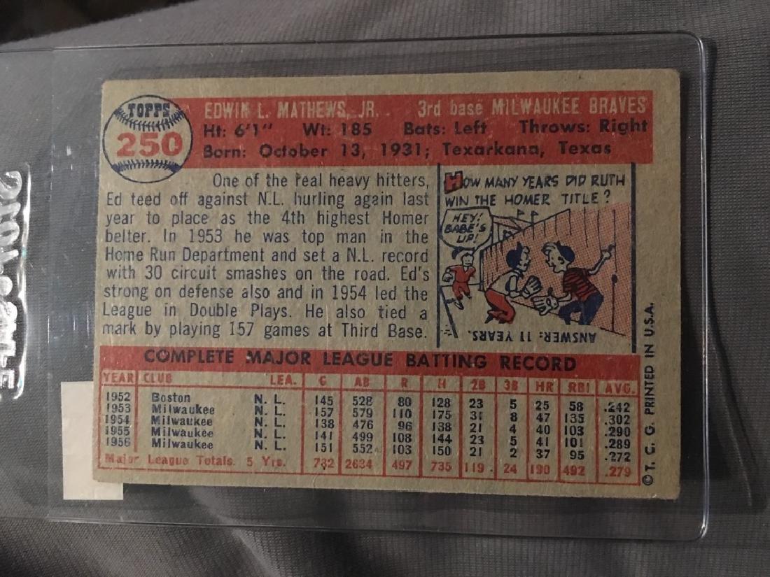 1957 Topps #250 Ed Mathews Braves - 2