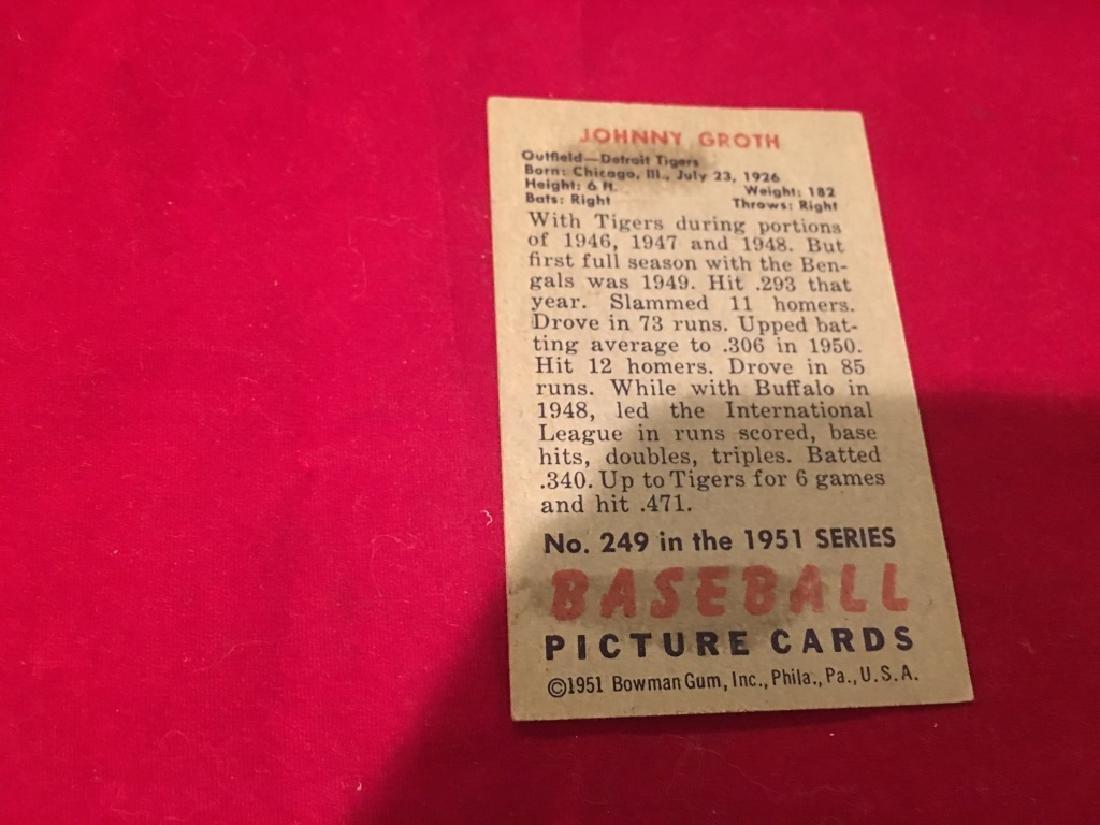 1951 Bowman Baseball Card #249 Johnny Groth - 2