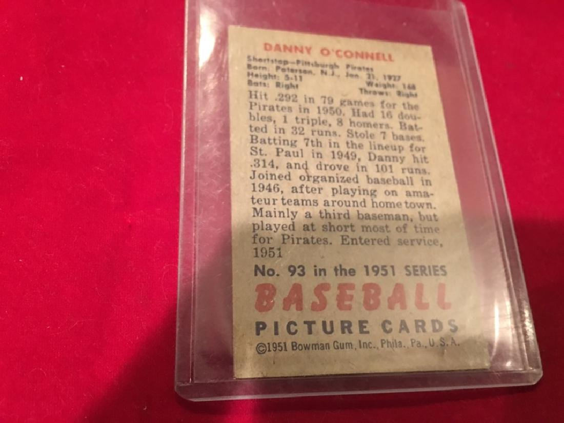 1951 Bowman #93 Danny O'Connell Pirates - 2