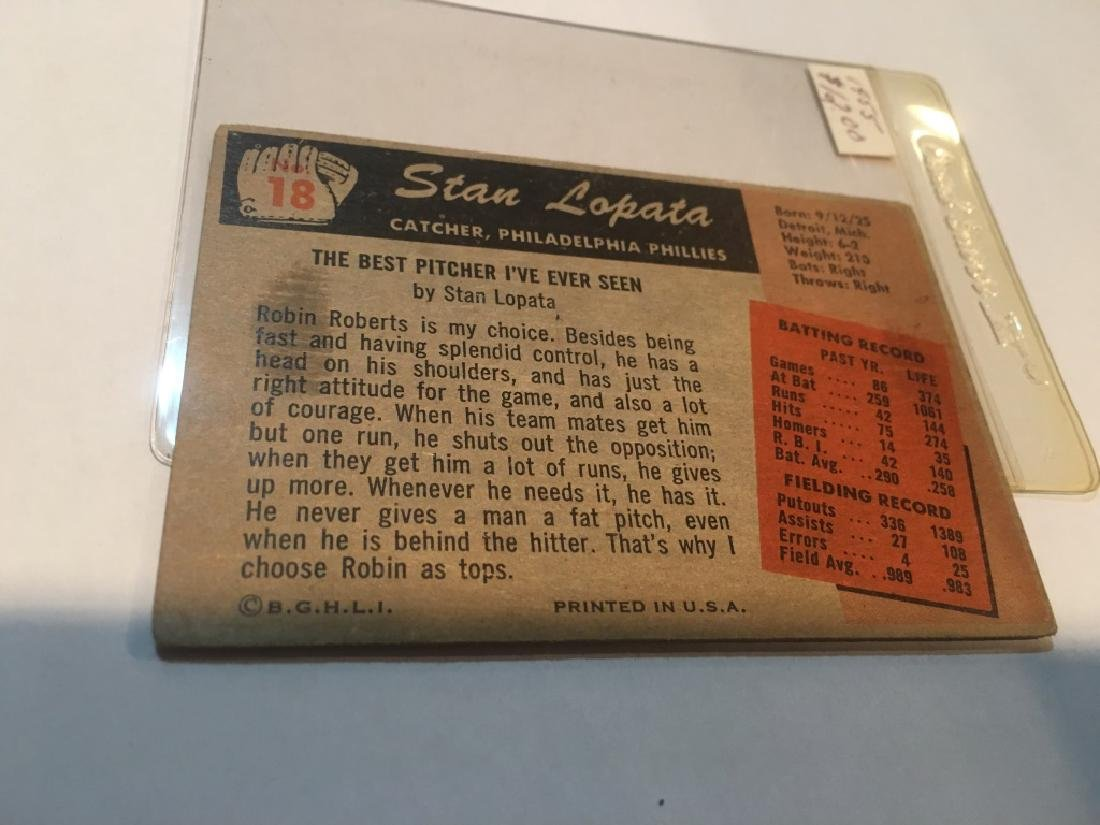 1955 BOWMAN # 18 STAN LOPATA - PHILADELPHIA PHILLS - 2