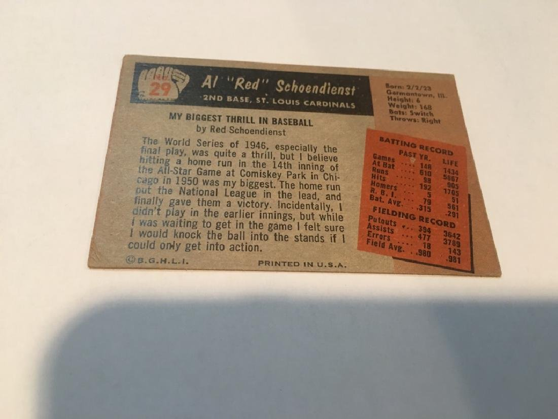 Al +IBw-Red+IB0 Schoendienst 1955 Bowman card #29 St - 2