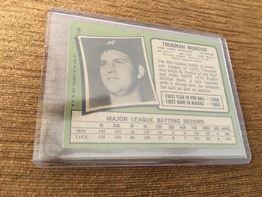 1971/71 Topps Baseball THURMAN MUNSON Yankees RC 5 - 2