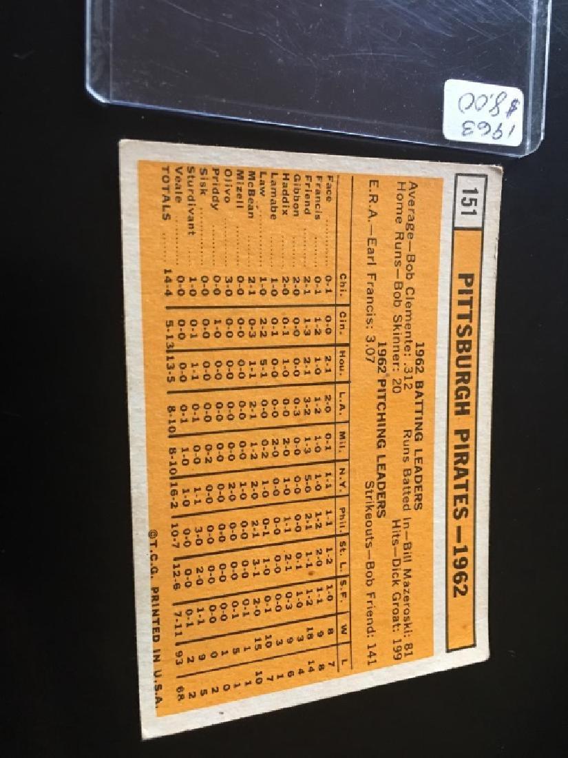 1963 TOPPS BASEBALL PITTSBURGH PIRATES TEAM CARD - 2