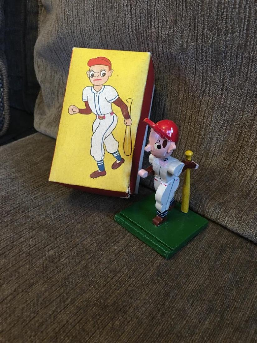 Vintage Wooden Mini Baseball Player Bobblehead
