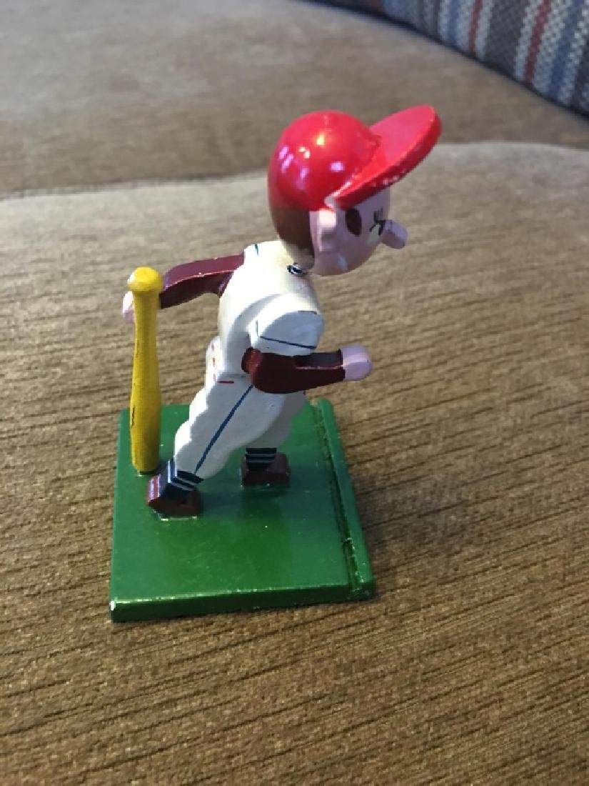 Vintage Wooden Mini Baseball Player Bobblehead - 3