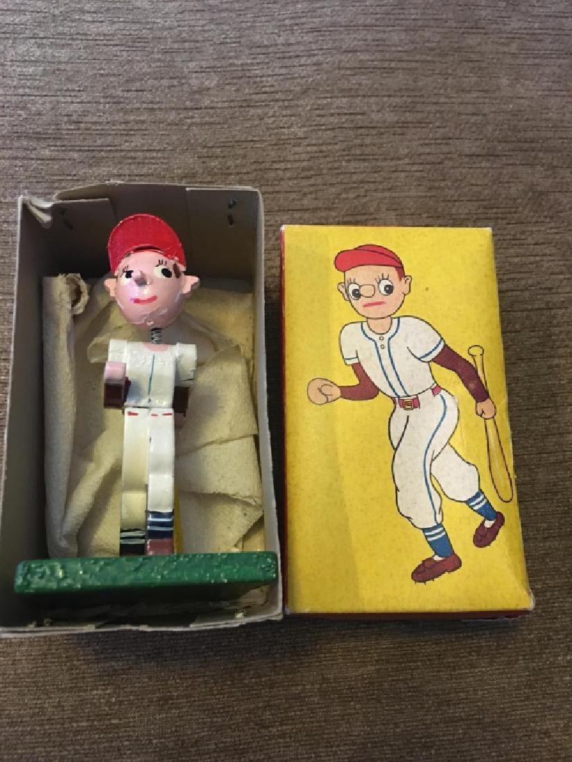 Vintage Wooden Mini Baseball Player Bobblehead - 4