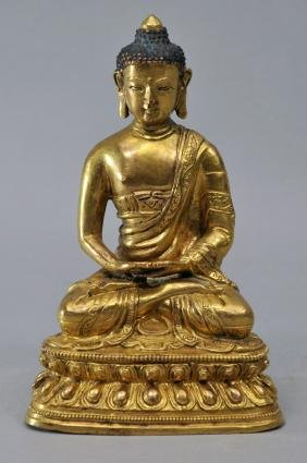 Gilt bronze image of Amida Buddha. China. 18th/19th