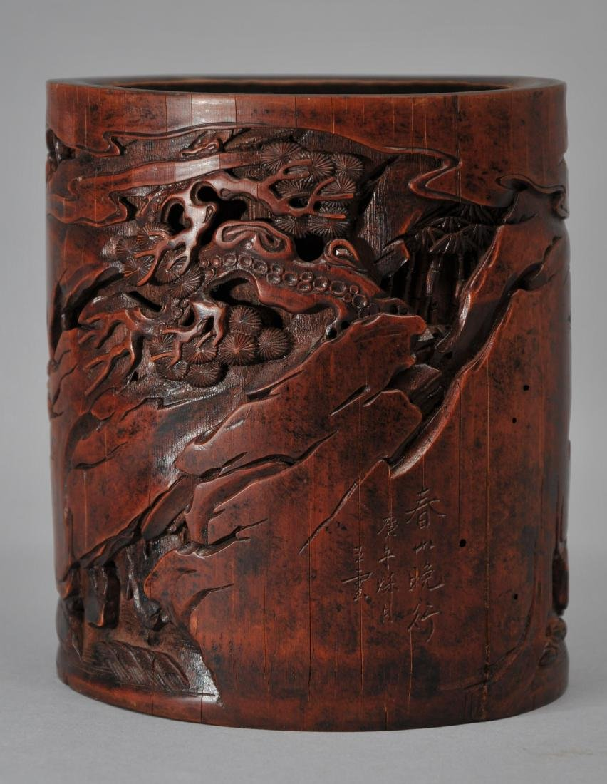 Bamboo brush pot. China. 18th century. Surface carved