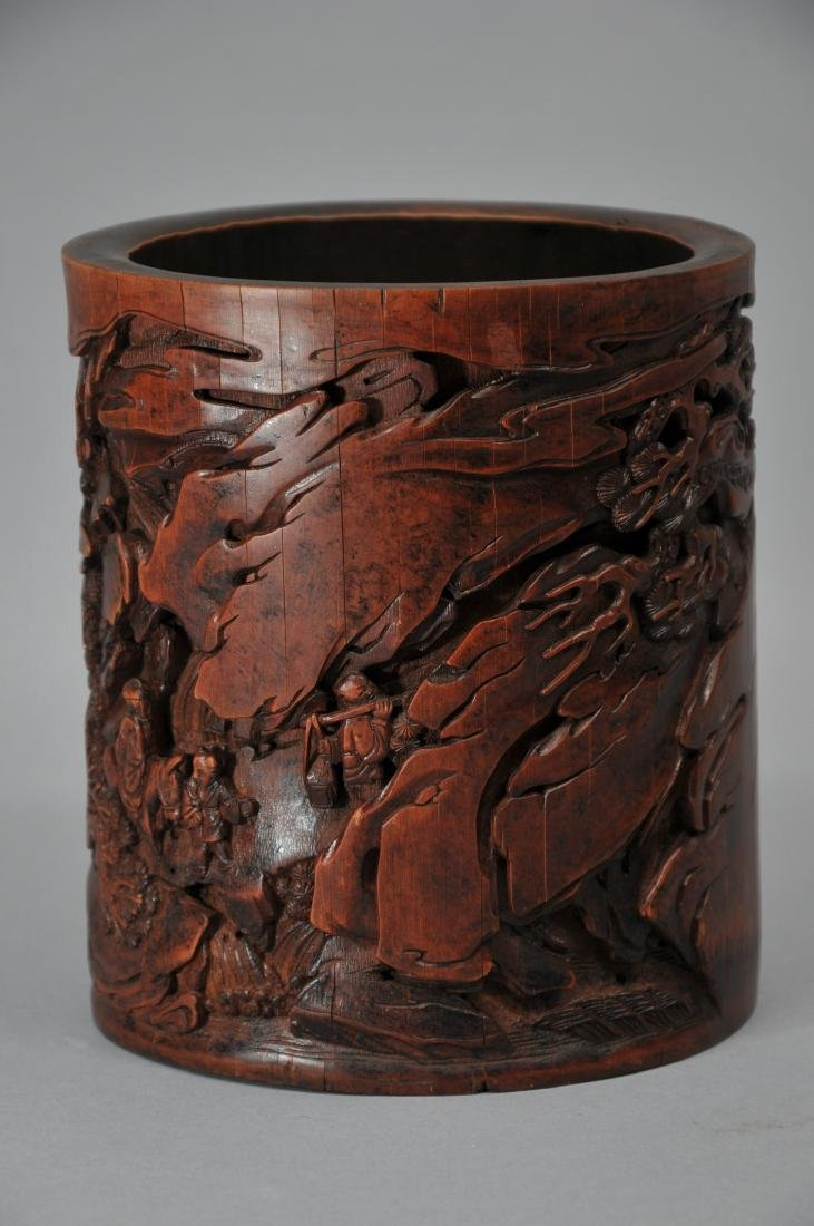 Bamboo brush pot. China. 18th century. Surface carved - 3