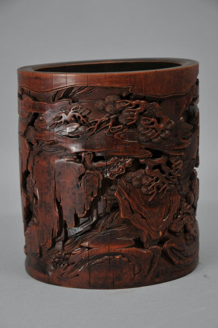 Bamboo brush pot. China. 18th century. Surface carved - 5