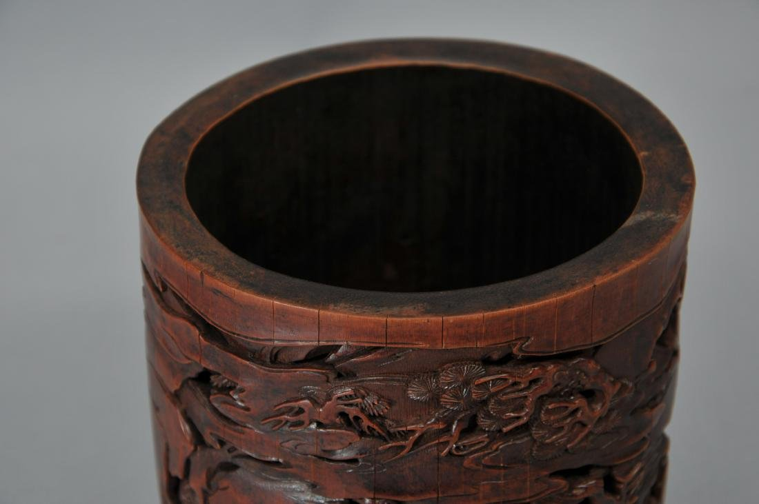 Bamboo brush pot. China. 18th century. Surface carved - 7