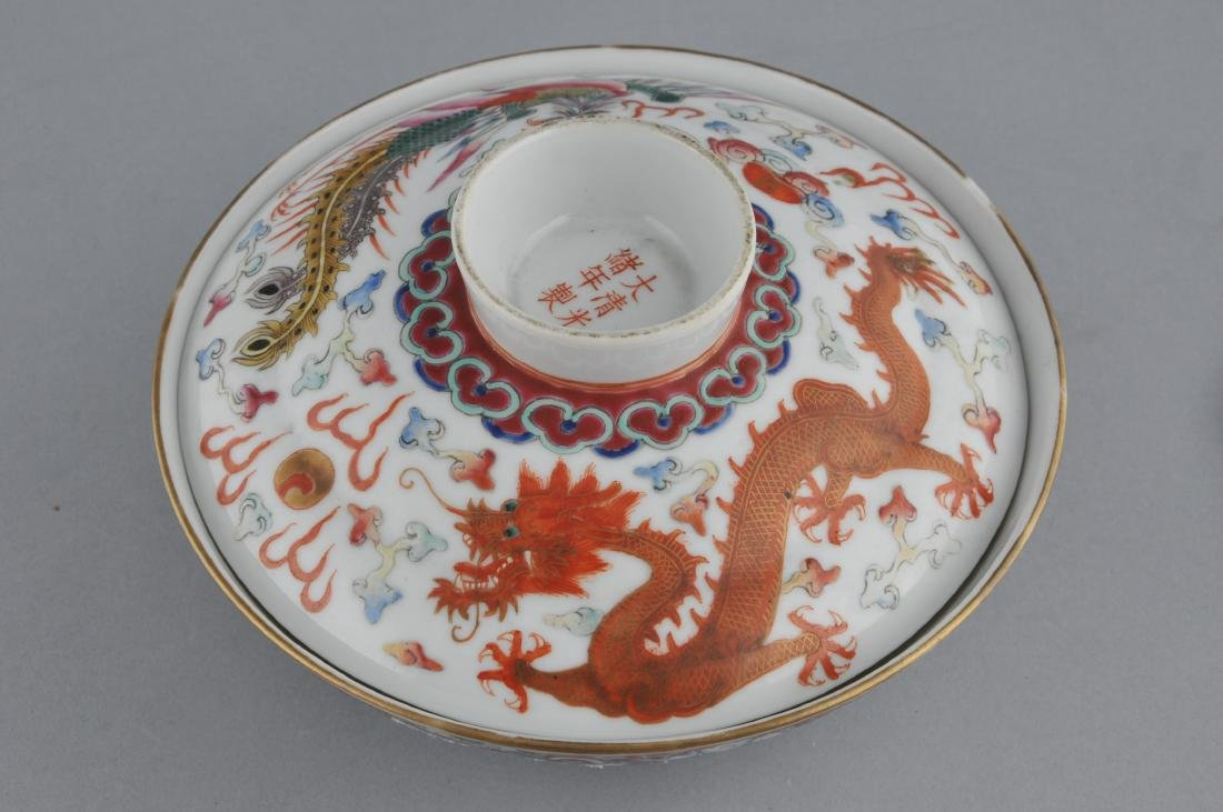 Porcelain covered bowl. China. Kuang Hsu (1875-1908) - 5