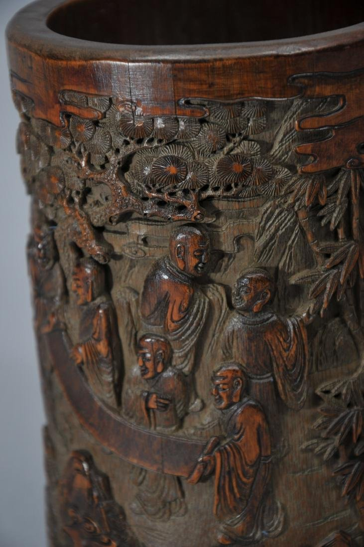 Bamboo brush pot. China. 18th century. Surface carved - 2