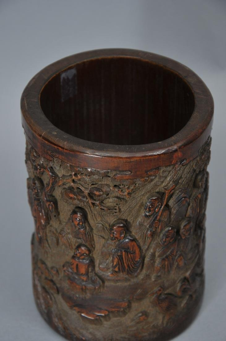Bamboo brush pot. China. 18th century. Surface carved - 6