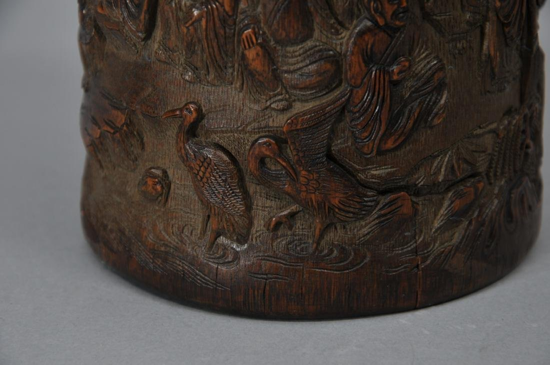 Bamboo brush pot. China. 18th century. Surface carved - 8