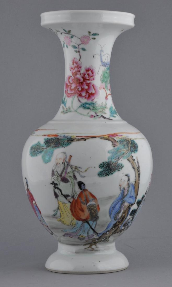 Porcelain vase. China. Late 19th century. Famille Rose