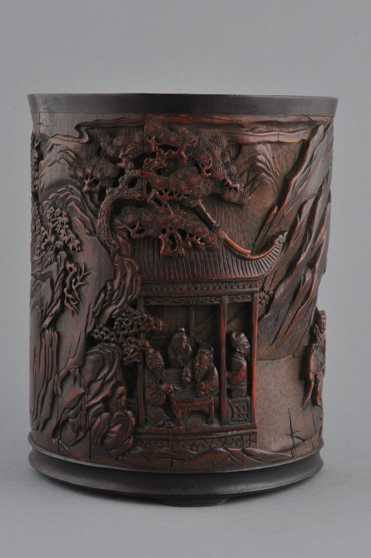 Bamboo brush pot. China. 18th century. Finely carved