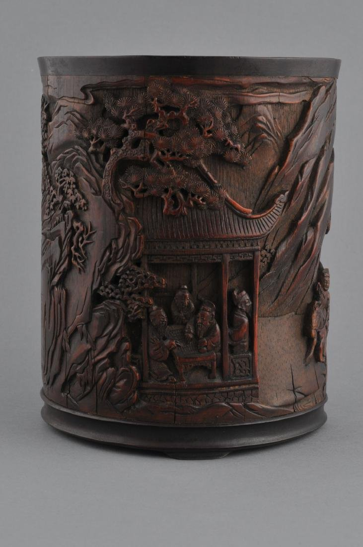 Bamboo brush pot. China. 18th century. Finely carved - 2
