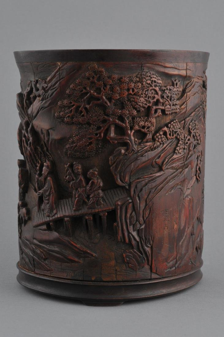 Bamboo brush pot. China. 18th century. Finely carved - 3