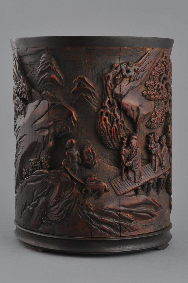 Bamboo brush pot. China. 18th century. Finely carved - 4