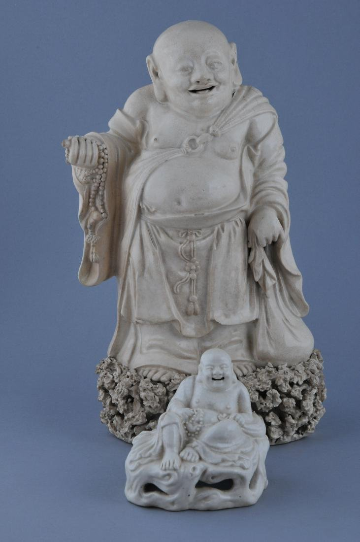 Two pottery figures. China. 19th century. Ivory white