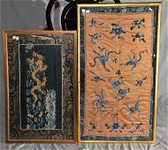 Lot of two Silk Embroideries China Late 19th