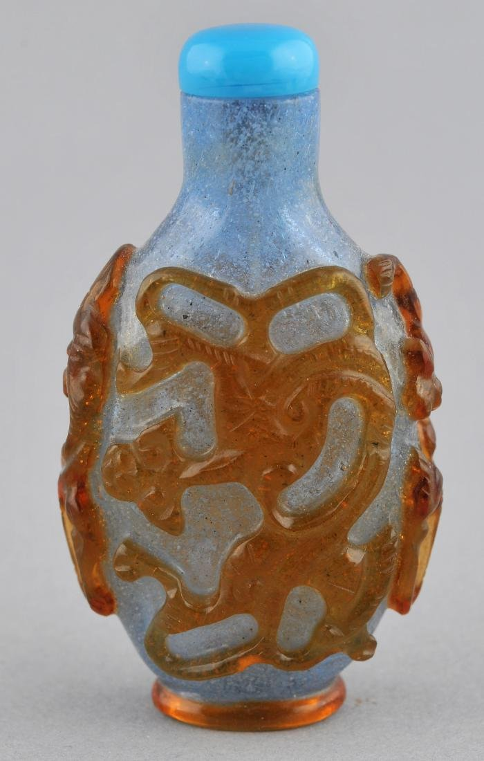 Snuff bottle. China. 19th century. Cameo glass. Yellow