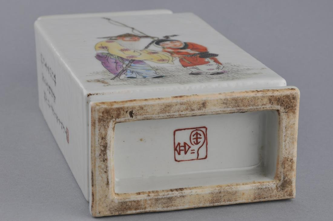 Porcelain vase. China. Dated 1923. Rectangular form. - 7