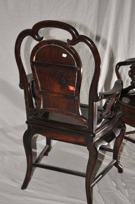 Pair of Arm chairs. China. 19th century. Hung Mu. - 10